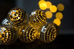 Close-up Crystal ball Decorated on Christmas night on a shiny background and lights royalty free stock photography