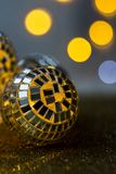 Close-up Crystal ball Decorated on Christmas night on a shiny background and lights royalty free stock images