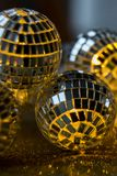 Close-up Crystal ball Decorated on Christmas night on a shiny background royalty free stock photography