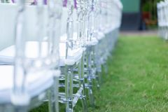 Close up Crystal chai in the row, In the garden for Dinner time stock images