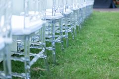 Close up Crystal chai in the row, In the garden for Dinner time royalty free stock image