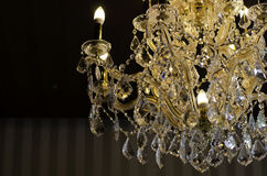 Close up on the crystal of chandelier Royalty Free Stock Photo