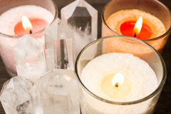 Close up of crystals and candles Stock Images