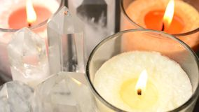Close up of crystals and candles stock video
