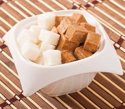 cubes of brown and white sugar Stock Photography