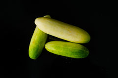 Close up Cucumber on black Stock Photography