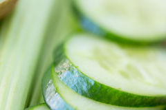 Close up of cucumber slices and celery Stock Photo
