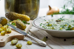 Close-up of cucumber soup and freshly sliced ​​gherkins Royalty Free Stock Images