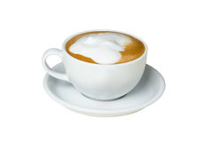 Close up of a cup of cappuccino with blank space on cup Royalty Free Stock Photography