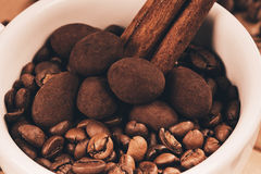 Close up cup of coffee beans and chocolate Royalty Free Stock Photo