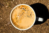 Close-up cup of fresh coffee Royalty Free Stock Photography