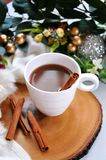Close up a Cup of Hot Chocolate. With cinnamon stick stock images