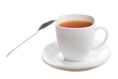 Close-up cup of rooibos tea with spoon Royalty Free Stock Image
