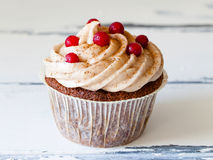 Close up of a cupcake with berries stock images