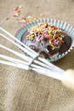 Close up cupcake with egg whisk Royalty Free Stock Images