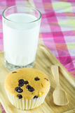 Close up cupcake and glass of milk on wooden plate Stock Images