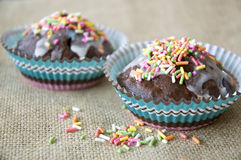 Close up cupcakes with topping Royalty Free Stock Photography