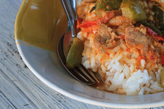 Close up curry over rice. Thai food spicy Stock Images