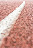 Close up curve running track rubber Stock Photos
