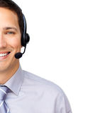 Close-up of a customer service agent. With headset on against a white background Stock Image