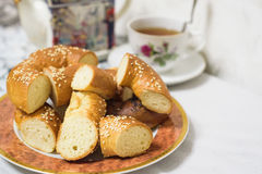 Close up of cut bagels with sesame and poppy seed Royalty Free Stock Photo