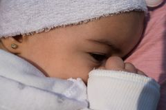 Close up of cute baby girl. Close up of peaceful baby girl Royalty Free Stock Photos