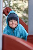 Close-up of cute beautiful small boy outside Royalty Free Stock Photos