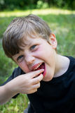 Close up of cute boy smiling with stawberries Royalty Free Stock Photography