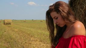 Close-up of cute businesswoman with cognac curly hair in red dress sits on dried grass and works on laptop stock video footage