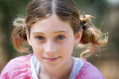 Close up of a cute girl with pigtails Royalty Free Stock Photo