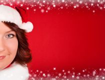 Close up of cute girl in santa claus cloth Royalty Free Stock Images