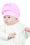 Close up of cute little baby girl isolated Stock Photos