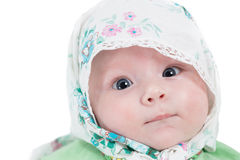 Close up of cute little baby girl isolated Stock Image