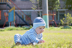Close-up of cute little boy in blue striped suit Royalty Free Stock Photos