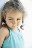 Close-up of cute little girl with two braids Royalty Free Stock Photography