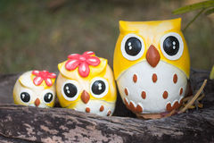 Close up of cute owl family dolls Royalty Free Stock Images