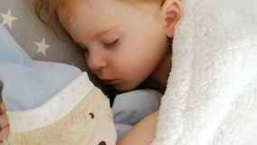 Close-up of a cute sleeping beautiful girl on a pillow with a bear stock video