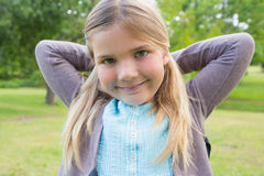 Close-up of a cute smiling girl at park Stock Image