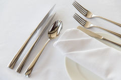 Close up of cutlery set on table Stock Photos
