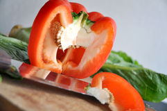 Close up cutting bell pepper Royalty Free Stock Photo
