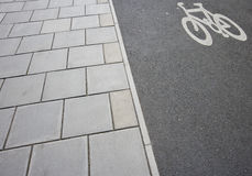 Close-Up of cycle lane on the pavement Royalty Free Stock Image