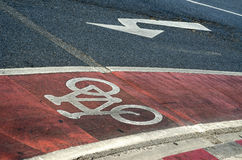 Close up of cycle lane in the road. Stock Image