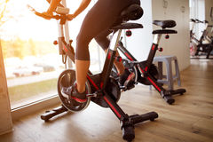 Close up of cycle training-concept. Close up of cycle training at gym-concept royalty free stock photo