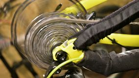 Close-up of the cycling star gear knot when shifting gears in a bicycle repair shop. Bicycle repair.  stock footage