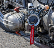 Close-up of a cylinder. With remove before flight label royalty free stock photography