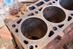 Close-up cylinder of old rusty engine Royalty Free Stock Images