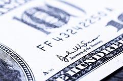 Close-up 100 dólares Fotografia de Stock