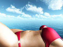 Close up of a 3D female figure in a bikini sunbathing Stock Photos