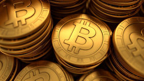 Close up 3D illustration of paneled golden Bitcoins Stock Image