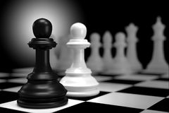Close up of 3d render Black Chess Battle with White Chess  on Ch. Essboard as Strategy Sport Game Concept. Shallow depth of Field Royalty Free Stock Photo